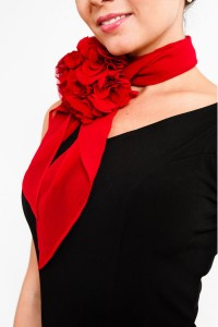 Tango Clothing, Dresses & Fashion Made in the UK | Bloom Chiffon Brooch | Red Chiffon