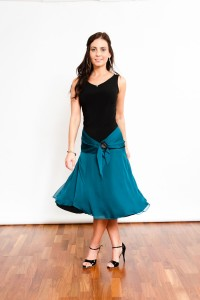 Tango Clothing, Dresses & Fashion Made in the UK | Dancy Chiffon Skirt by Tanguito | Teal Front Picture