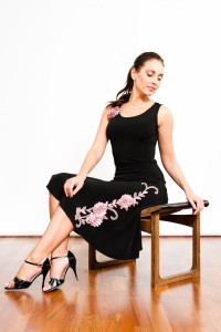 Tango Clothing, Dresses & Fashion Made in the UK | So Chic Lace Skirt | Black and Pink